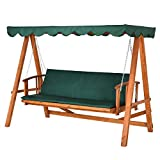 Outsunny® Hollywoodschaukel mit Sonnendach Echtholz-Gartenschaukel Schaukelbank Schaukel mit...