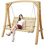 Hollywoodschaukel aus Holz Lärche Gartenschaukel Set Holzgestell mit 2-sitzer Bank aus Stoff Bunt...